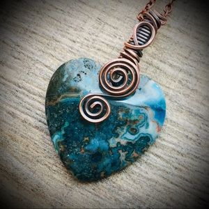 Wire wrapped copper heart pendant necklace